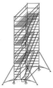 Günzburger Steigtechnik Rollgerüst 1,35 x 2,45 m mit Schrägaufstiegen Plattformhöhe 2,35 m