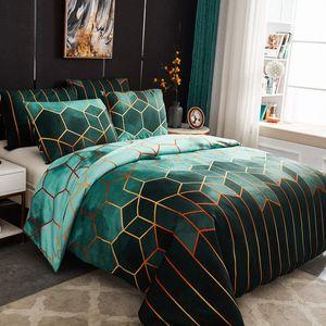 Bettwäsche 135x200cm Grün Geometrische Kariert Marmor Modern Mikrofaser Bettbezug mit Kissenbezug 80x80cm