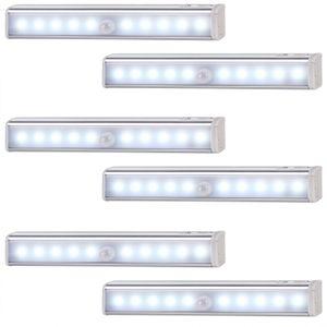 monzana 6er Set LED Schrankleuchte mit Bewegungsmelder Unterbauleuchte Schrankbeleuchtung Nachtlicht Lampe