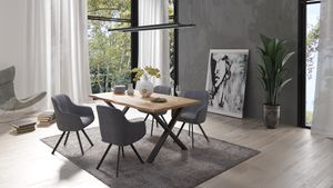HOMEXPERTS Esszimmerstuhl CARLO 2er-Set, Metall schwarz, Cordstoff grau, Sitzschale drehbar