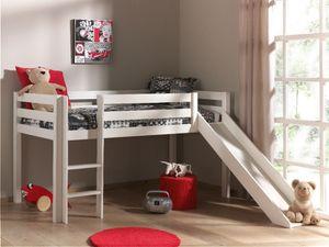 Pino Spielbett mit Rutsche 90x200 cm Weiß, Matratze:Basic