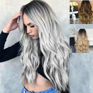 3 Style Kunstfaser lockige/gerade Haarperuecken fuer die grosse Kurve Natuerliches Mattes Haarteil Schwarz-grauer Farbverlauf