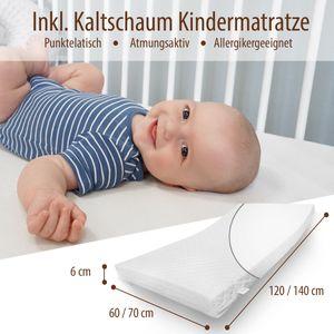 Babybett 60x120 cm mit Matratze ohne Schublade Komplettbettset in Weiß