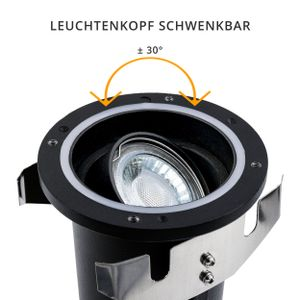 Schwenkbare LED Bodeneinbauleuchte JUAVI IP67 quadratisch inkl. LED GU10 3W warmweiß 230V, Stückzahl:1er Set