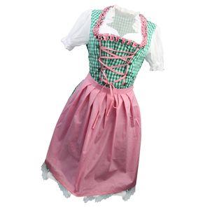 Dirndl Kostüm 2-tlg. Mini-Dirndl Trachtenkleid (Kleid & Schürze) Gitter L Kleid Grün, pink