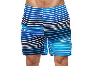 Max Men Herren Bade Hose Kurze Schwimmhose Gestreift, Farben:Blau-Schwarz, Größe Shorts:XL