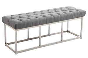 CLP Sitzbank Amun Stoff Edelstahl gepolstert und gesteppt, Farbe:grau, Größe:120 cm