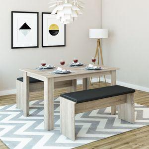 Tischgruppe Eiche Sonoma 140 x 90 cm - 4 bis 6 Personen - Esszimmer Esstisch Küche Sitzgruppe Tisch Bank - Bänke flexibel verstaubar