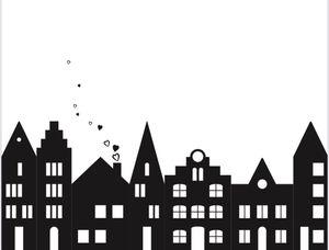 UNPERFEKT PERFEKT - Fensterbild Häuser - Stadt - Aufkleber - Häuschen