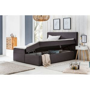 Möbelfreude Polsterbett mit Bettkasten Modell: Bianca, 160 x 200 cm Härtgrad H2, Anthrazit inkl. Topper, mit Bettkasten