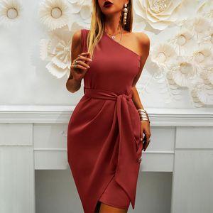 Frauen One Shoulder Minikleid Club Abend Party Cocktail A-Linien Kleid Sommerkleid