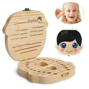 Zahnbox Holz Milchzähne Box, Milchzahndose aus Holz Wort Milchzahnbox für Mädchenn Mädchen Souvenir Box Weihnachten Geschenk (Mädchenn)