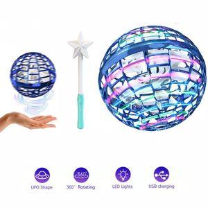 Flynova Pro Spinner, Dynamische RGB-Lichter, Hand Control Betrieben Drohnen (Blauer Ball + Magic Stick)