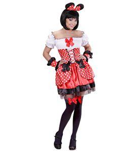 Maus-Kostüm mit Zubehör M rot weiß