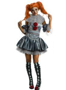 Pennywise-Damenkostüm Es Halloween-Kostüm grau-rot