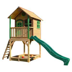 AXI Spielhaus Sarah mit Sandkasten & grüner Rutsche | Stelzenhaus in Braun & Grün ausHolz für Kinder | Spielturm mit Wellenrutsche für den Garten