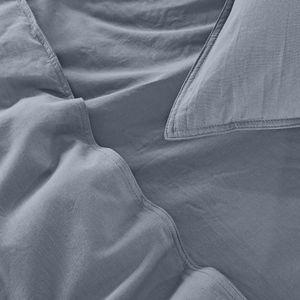 WOMETO Kissenbezug Renforce Stone-Washed 80x80 cm 100% Baumwolle - dunkelgrau anthrazit weich modern Used-Look Leinen-Optik