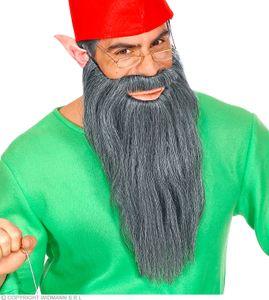 Langer grauer Bart mit Schnurrbart - Zwergenbart - Zauberer - Biker - Pirat