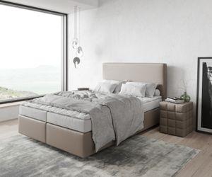 DELIFE Bett Dream-Well Kunstleder Taupe 140x200 cm mit Matratze und Topper