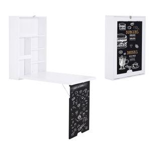 HOMCOM Wandtisch, Wandklapptisch, Klappschreibtisch mit Tafel, Klappbarer Computertisch, Esstisch, MDF, Weiß 88,5 x 60 x 146,5 cm