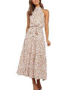 Damen y Neckholder Polka Dot Print Langes Kleid,Farbe: Cremeweiß,Größe:S