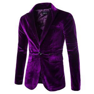 Herrenmode Pure Cord Casual Casual-Anzugmantel mit einem Knopf Größe:XXL,Farbe:Lila