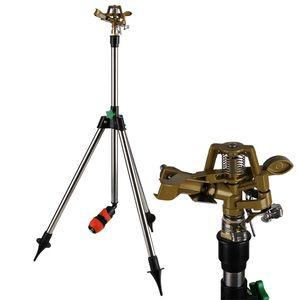 Rasensprenger Teleskopstativ Höhe bis 120cm Bewässerungsweite bis zu 27m 360° Sprühaufsatz Impulsregner Sprinkler Kreisregner