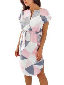 Damen Lässiges Kurzarm Midikleid V-Ausschnitt Shirt Sommerkleid,Farbe: Pink,Größe:M
