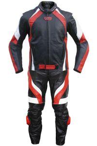 2-teiler Motorradkombi Biker lederkombi aus Rindsleder Schwarz/Rot, Größe:50/M