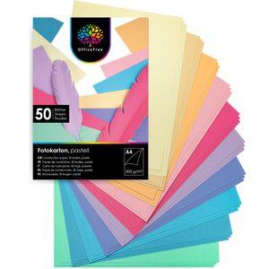 OfficeTree 50 Blatt Bastelpapier Pastell Töne - Bastelset Kinder - Tonpapier A4 300g/m² zum Basteln