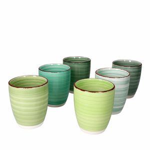 6er Set Green Baita Kaffeebecher Grün 350ml ohne Henkel Trinkbecher Tasse Pott