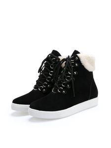 Damen Mode Lässige Schnürstiefel Plattformstiefel,Farbe: Schwarz,Größe:35