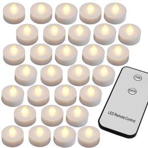 Deuba 30 LED Teelichter mit Fernbedienung Flackernde Batteriebetriebene Kerzen inkl Batterie Warmweiß 3,7cm Elektrisch