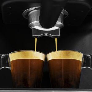 Cecotec Kaffeemaschine Power Espresso 20 Matic. für 1-2 Tassen,20 bar, 1'5 L,Siebträger mit Doppelauslauf, Milchaufschäumdüse, Tassenabstellfläche, 850 W, edelstahl