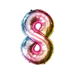Oblique Unique 1x Folien Luftballon mit Zahl 8 Kinder Geburtstag Jubiläum Party Deko Ballon bunt