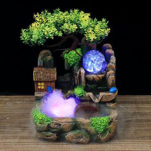Zimmerbrunnen Tisch Springbrunnen Dekoration LED Beleuchtung Wasserspiel Polyresin Dekobrunnen