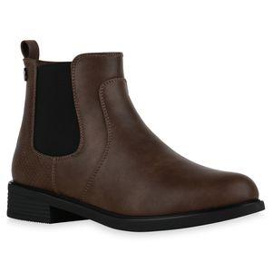 Mytrendshoe Damen Chelsea Boots Leicht Gefütterte Stiefeletten Prints Schuhe 835757, Farbe: Mocca Snake, Größe: 39