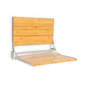 oneConcept Arielle Deluxe Duschsitz , Klappsitz ,Sitzfläche & Lehne aus Bambus , Rahmen aus Aluminiumlegierung , max. Gewicht: 160 kg , inkl. Montagematerial , holz
