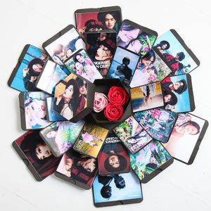 Überraschungsbox Geburtstag DIY Geschenk Explosion Box Handgefertigtes Sammelalbum Faltbares 6-seitiges Fotoalbum, Jubiläum Valentinstag Hochzeit Muttertag (Schwarz)