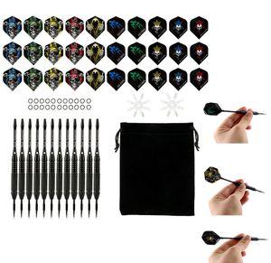 Dartpfeile,12 Stück Steel Darts Pfeile Set,24 Gramm Profi Steeldarts mit Metallspitze,Darts Steel,dartpfeil,Dart,Aluminium Schaft,30 Flights,20 Anti-Lose Gummiringe,Steeldarts