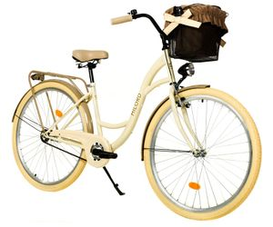 Milord Komfort Fahrrad Mit Korb Damenfahrrad, 28 Zoll, Creme, 1 Gang