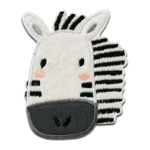 Zoo Tiere Zebra - Aufnäher, Bügelbild, Aufbügler, Applikationen, Patches, Flicken, zum aufbügeln, Größe: 7,5 x 6 cm
