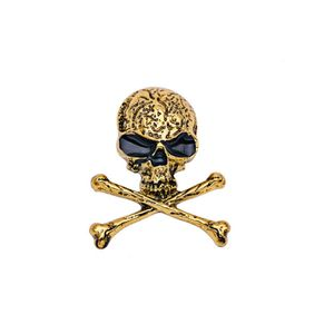 Herren Metall Schädel Brosche Pin Halloween Party Favor Dekoration Antik Silber Gold