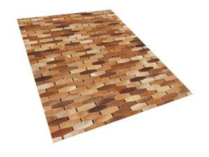 Teppich Braun Kuhfell rechteckig 160x230 cm Patchwork Lederteppich für Wohnzimmer Schlafzimmer Salon Esszimmer Flur