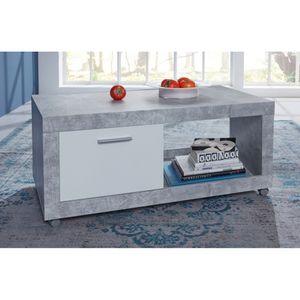 1100.115.35 UNIVERSAL Couchtisch Beton grau / weiß Couchtisch Beistelltisch Wohnzimmertisch auf Rollen ca. 110 x 48 x 59 cm