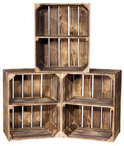 """3er Set Geflammte Kiste für Schuh-und Bücherregal """"quer"""" 50x40x30cm-Holzkiste-Obstkiste-Apfelkiste,Holzregal"""