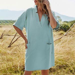 Damen Freizeitkleid V-Ausschnitt Halbarm Taschen Einfarbig Loose Fit Elegantes Midikleid,Blau-XL