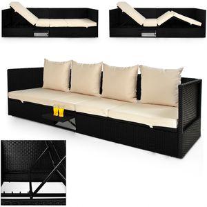 Casaria Polyrattan Gartenmöbel Lounge 200x60 cm mit Auflage Verstellbare Lehne Klapptisch Outdoor Gartenliege Wetterfest