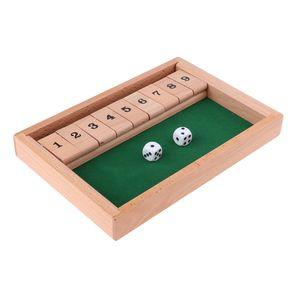 SHUT THE BOX Spiel Holz Würfelspiel Klappenspiel Brettspiel Klappbrett für 2-4 Personen