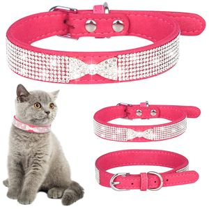 Strass Lederband Hundehalsband Welpen Katze Haustier Halsband, L(36-44cm), Rosa